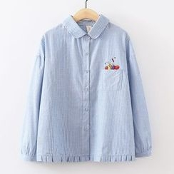ninna nanna - Fruit Embroidered Striped Shirt