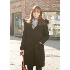 J-ANN - Faux-Fur Wool Blend Coat