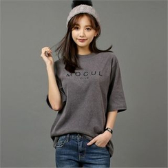 Styleberry - Elbow-Sleeve Lettering T-Shirt