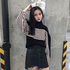 Anlay - Loose-Fit Mock-Neck Striped Sweater