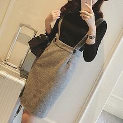 Queen Bee - Midi Suspender Skirt