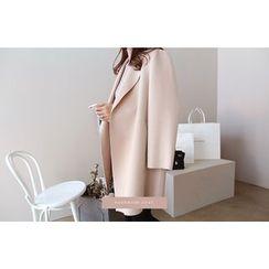 DAILY LOOK - Hidden-Button Wool Blend Coat
