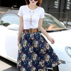 Ekim - Set: Eyelet Detailed Short Sleeve + Floral Midi Skirt