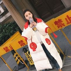 7th Mansion - Smiley Face Embroidered Hooded Long Padded Coat