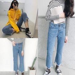 Jeans Kingdom - 水洗散摆靴型牛仔裤