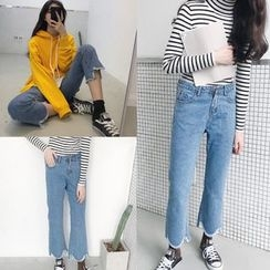 Jeans Kingdom - Washed Frayed Hem Boot Cut Jeans