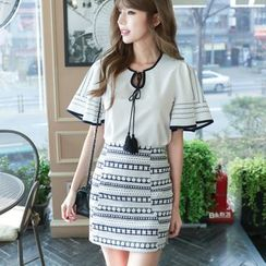 Dowisi - Set : Tasseled Piped Bell-Sleeve Top + Skirt