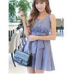 Dowisi - Pinstripe Bow Strap Dress
