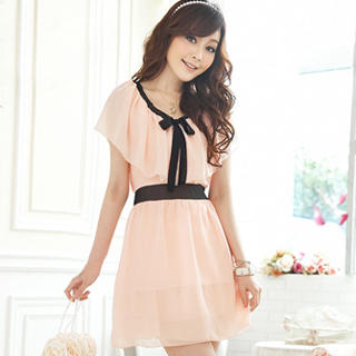 Tokyo Fashion - Cape-Collar Tie-Neck Chiffon Dress