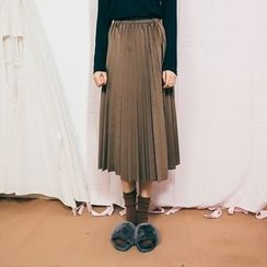Primula - Pleated Velvet Midi Skirt