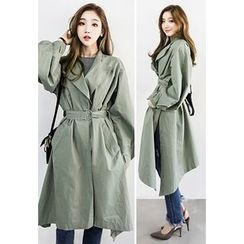 INSTYLEFIT - Puff-Sleeve Coat with Belt