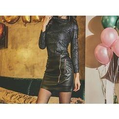 UUZONE - Faux-Leather Zip-Detail Skirt