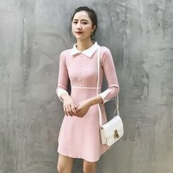 GAGAI - Collared Knit Dress
