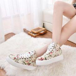 Weiya - Floral Print Platform High Top Sneakers