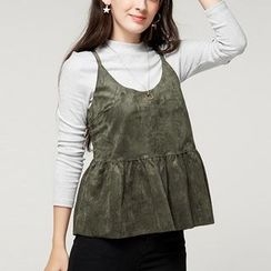 cachecache - Set: Long-Sleeve Top + Sleeveless Spaghetti-Strap Top