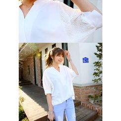 REDOPIN - Laced-Sleeve Placket Top