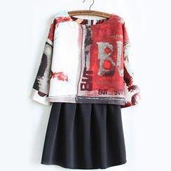 WeiWei Design - Set: Printed Top + A-Line Skirt