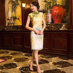 Miss Four Qipao - Print Cap-Sleeve Qipao