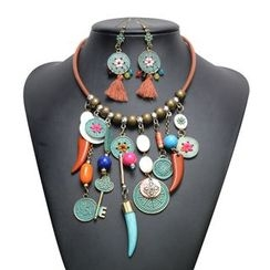 Ashita - Set: Tribal Coins Beaded Fringed Necklace + Earrings