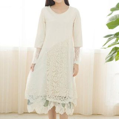 Blue Hat - Long-Sleeve Lace-Panel Dress