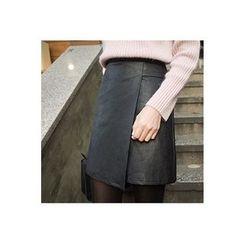 CHERRYKOKO - Faux-Leather Mini Wrap Skirt