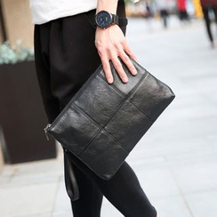 BagBuzz - Faux Leather Panel Clutch