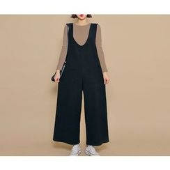 HOTPING - V-Neck Knit Suspender Pants