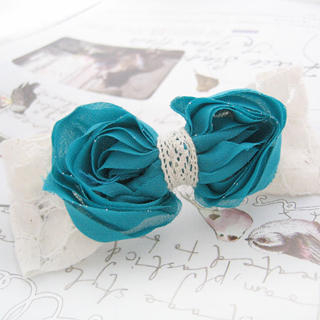 Fit-to-Kill - Sparkle lace and chiffon bow hair pin -blue