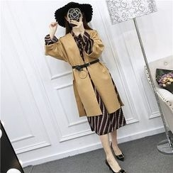 Be Bonita - Set: Long-Sleeve Printed Dress + Open-Front Coat