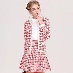 ATTA - Set: Houndstooth Cardigan + Skirt