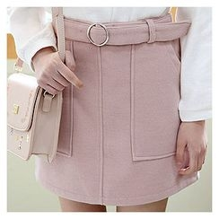 Sechuna - Band-Waist Dual-Pocket Mini Skirt