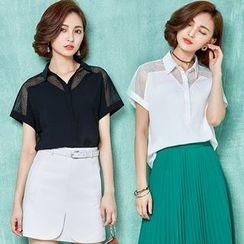 Hazie - Short-Sleeve Mesh Panel Shirt