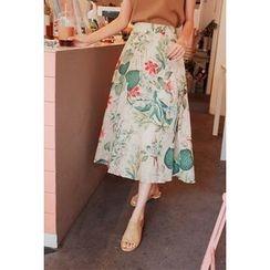 Cherryville - Floral Print A-Line Skirt