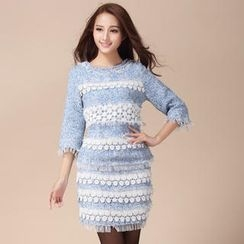 Ando Store - Set: 3/4-Sleeve Crochet-Trim Tweed Top + Miniskirt
