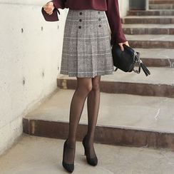 CLICK - Wool Glen-Check Skirt