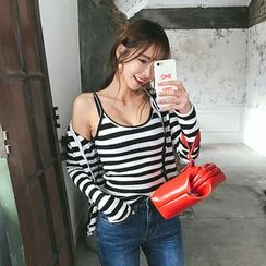DABAGIRL - Set: Stripe Slim-Fit Cardigan + Sleeveless Top