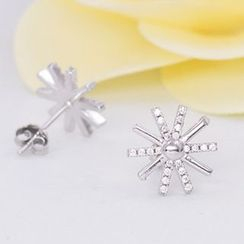 Nanazi Jewelry - Rhinestone Sterling Silver Sun Earrings