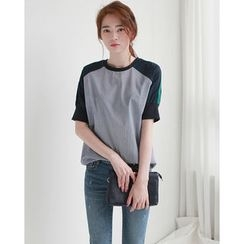 NIPONJJUYA - Raglan-Sleeve Color-Block T-Shirt