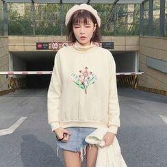 RASA - Embroidered Fleece-lined Mock-neck Sweatshirt
