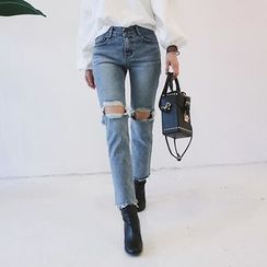 DABAGIRL - Cutout-Knee Washed Straight-Cut Jeans