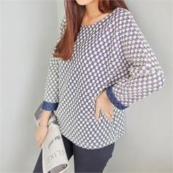 Styleberry - Drop-Shoulder Patterned Top