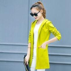 TRIST - Hooded Long Open Front Jacket