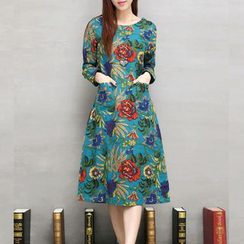 Hummingbird - Floral Print Long-Sleeve Midi Dress