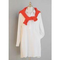 J-ANN - Half-Placket Pocket-Side Cotton Dress