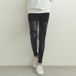 SO Central - Faux Leather Panel Leggings