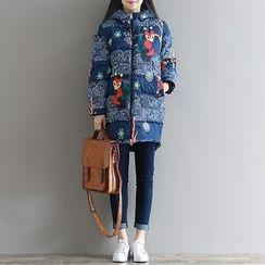 Clover Dream - Fox Print Hooded Long Padded Coat