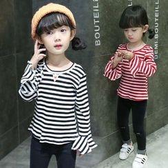 Merry Go Round - Kids Striped Bell-Sleeve T-Shirt