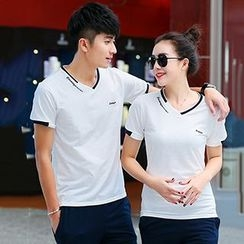 Azure - Couple Matching Set: Embroidered Short Sleeve T-Shirt + Sweat Pants