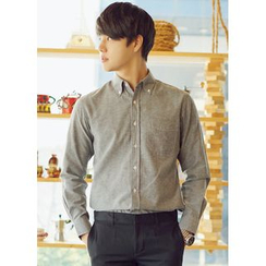 JOGUNSHOP - Long-Sleeve Pocket-Front Shirt