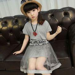 Famula - Kids Set: T-Shirt Dress + Tulle Skirt + String